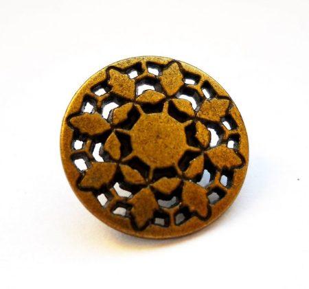 kerek virágmintás fémgomb - 15 mm - bronz