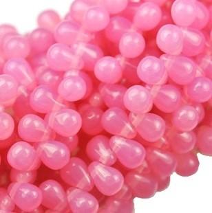 Cseh drop - 6*4 mm - tejopál rózsaszín