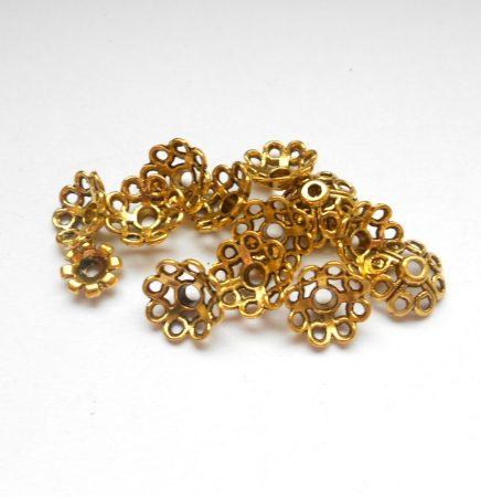 Gyöngykupak - 11*5 mm - antik arany