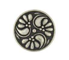 Kerek virágmintás fémgomb - 12 mm - antik ezüst