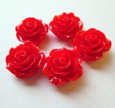 Akril rózsa kaboson -  20 mm - piros
