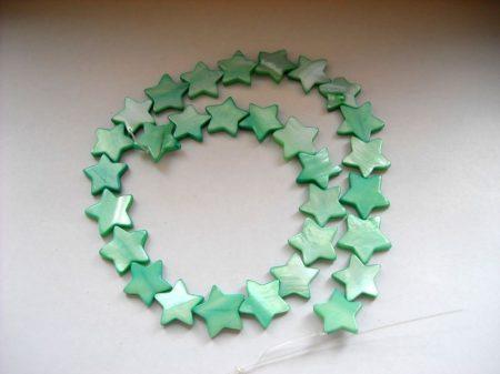 Gyöngykagyló csillag - almazöld - 16 mm