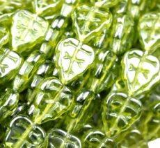 Cseh levélgyöngy - 10*8 mm -  lüszteres oliva