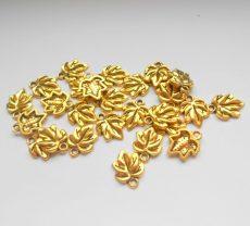 Levél medál - 16*12 mm - antik arany
