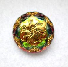 Czech handpainted glass button 27 mm