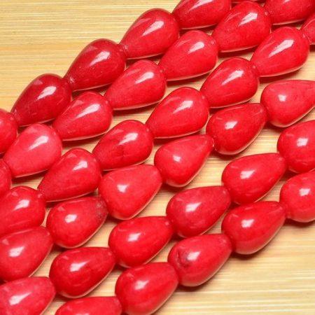 Vörös jade csepp - 14x10 mm