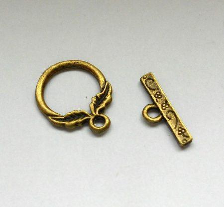 Levélmintás kapocs - bronz 20*16 mm