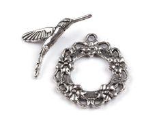 Colibri Toggle clasp - antique silver -30*25 mm