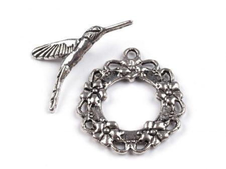 Kolibri mintás kapocs - ezüst 30*25 mm