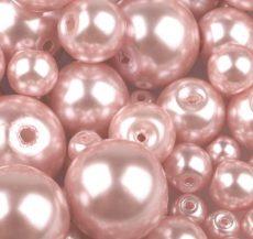 Cseh üveg tekla gyöngy - 10 mm - 10 db/cs - rózsaszín