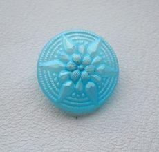 Czech handpainted glass button 18 mm