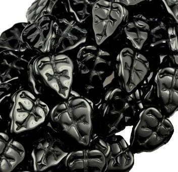 Cseh levélgyöngy - 10*8 mm -  fekete