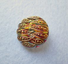 Czech handpainted glass button 22 mm