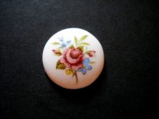 Porcelán kaboson - 30 mm - rózsa - nefelejcs