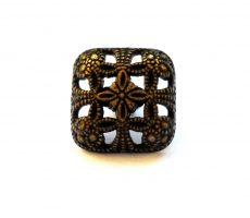 Antique finish metal shank button - 12 mm - bronze