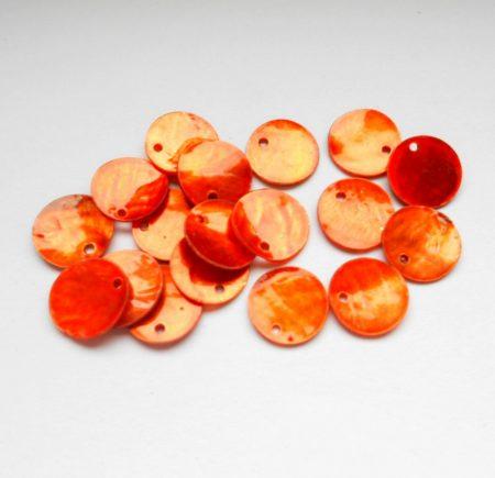 Kagyló korong - 13 mm - narancs