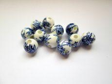 Porcelán gyöngy -  kék bambuszlevél mintával - 10 mm
