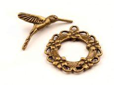 Kolibri mintás kapocs - 30*25 mm - bronz