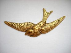 Swallow  - brass stamping - 80x40 mm
