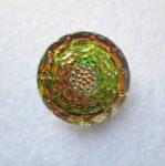 Czech handpainted glass button 22 mm