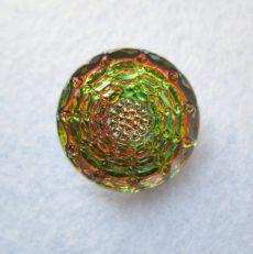 Kézzel festett cseh irizáló üveggomb -  vitrail medium - pókháló mintás