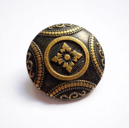 Virágmintás fémgomb - 22 mm - antik bronz