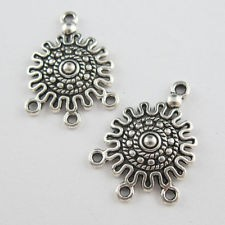 Tibetan silver connector 28*16 mm - 1 pair