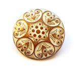 Kerek virágmintás fémgomb - 25 mm - bronz patina