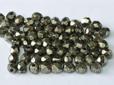 Cseh csiszolt gyöngy - 4 mm - Crystal Antique Chrome - #18549
