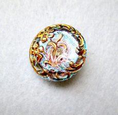Kézzel festett cseh irizáló üveggomb - speciál - virágmintás