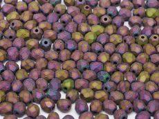 Cseh csiszolt gyöngy - 4 mm - Jet Matted Purple Iris - #21195