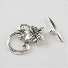 Lotus flower toggle clasp - antique silver -30*24 mm