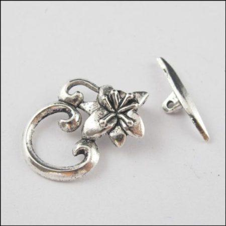 Lótuszvirág kapocs - ezüst 25*16 mm