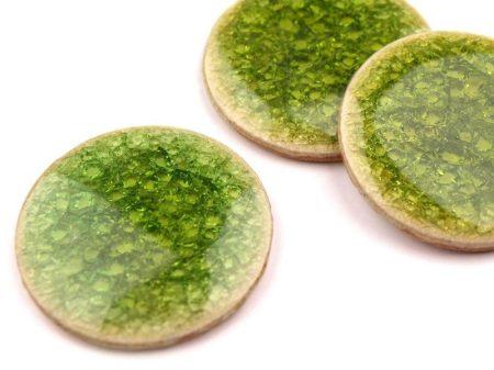 Kerámia kaboson - 30 mm - roppantott üveg felülettel - zöld