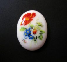 Porcelán kaboson - 40*30 mm - nyári virágcsokor 1#