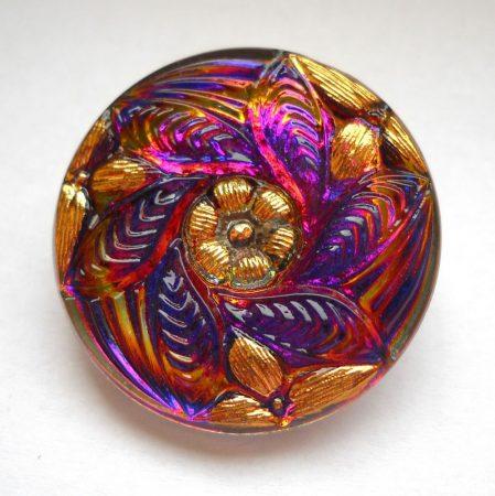 Kézzel festett cseh irizáló üveggomb - volcano arany - örvénymintás