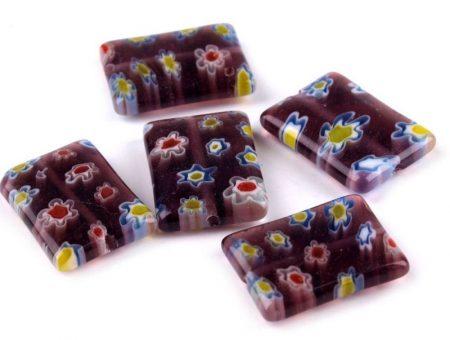 Millefiori glass bead - 18x13 mm - purple