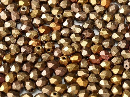Cseh csiszolt gyöngy - 4 mm - Metallic Mix - #01610