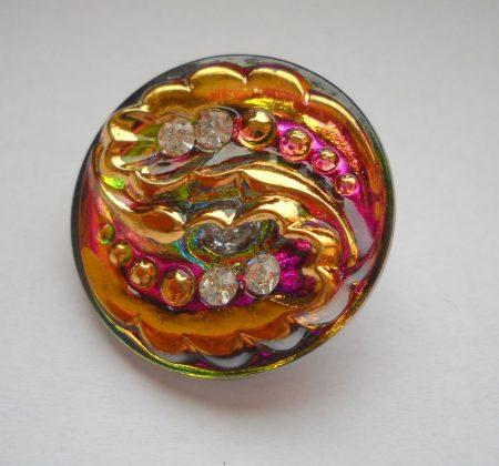 Kézzel festett cseh irizáló üveggomb - strasszos vitrail med- tollmintás