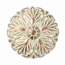 Kerek virágmintás fémgomb - 24 mm - bronz patina