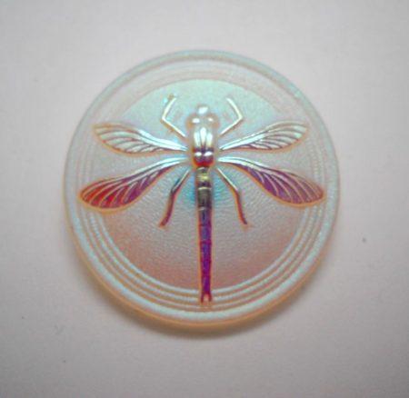Kézzel festett cseh irizáló üveggomb - matt aranyfüstös AB - szitakötő mintás