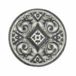 Kerek virágmintás fémgomb - 14 mm - antik patina