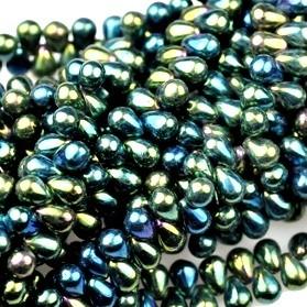 Cseh drop - 6*4 mm - zöld írisz