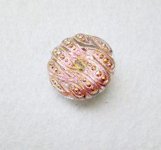 Kézzel festett cseh irizáló üveggomb  - vitrail light-  keleti mintás
