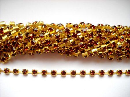 Strasszlánc - 3,2 mm - smokey topaz -arany - 25 cm