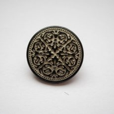 Antique finish metal shank button - 15 mm - patina