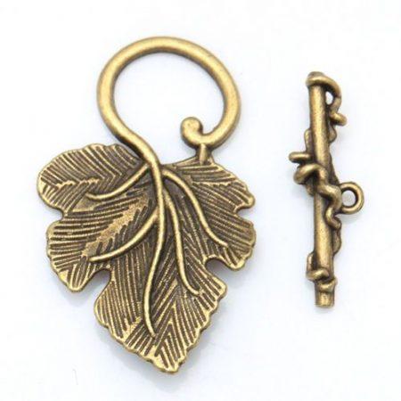 Szőlőlevél kapocs - bronz 36*22 mm