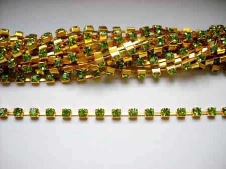 Strasszlánc - 3,2 mm - peridot -arany - 25 cm