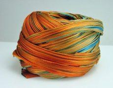 Shibori silk ribbon - teal- orange -10 cm