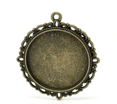 Medál alap 25 mm középpel - bronz (38x34mm kerettel)